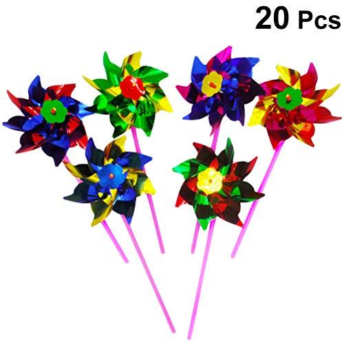 STOBOK Windrad Kunststoff Regenbogen DIY Windmühle Bunte Spielzeug für Kinder Garten Decor 20 Stück