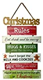 OSW Christmas Wood Wall Decor Hanging Sign, Large Rustic Wooden Plaque with 7 Slats with Holiday Rules and Phrases, 23 Inches in Length x 13.75 Inches Wide