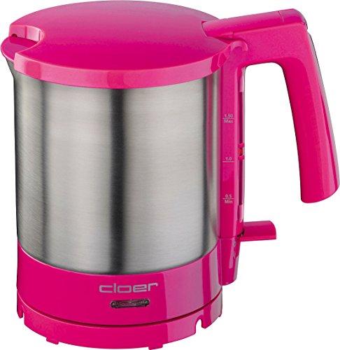 Cloer 4717-1 Wasserkocher, 2000 W, Trockengeh- und Überhitzungsschutz, innen liegende Füllmengenmarkierung, pink, Edelstahl, 1.5 liters
