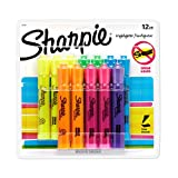 Sharpie Tank Highlighters Assorted Fluorescent Colors, Chisel Tip Highlighter Pens, 12 Count