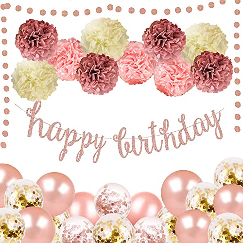 Rose Gold Pink Birthday Party Decoration