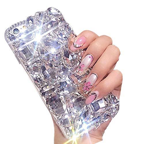 Miagon Glänzend Hülle für iPhone SE 2020,3D Handschlaufe Glitzer Bling Strass Hülle Diamant Transparent Handyhülle Bumper Case Tasche Schutzhülle,Klar