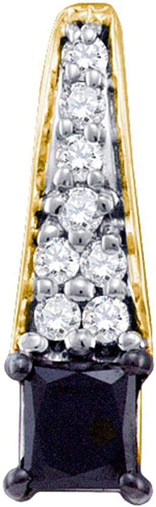 10kt Attention brand Yellow Gold Womens Princess Fa depot Diamond Black Enhanced Color