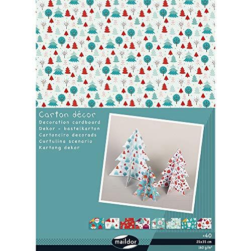 Clairefontaine 354598C - Un paquet de 40 feuilles de carton décor 25x35 cm 160 g, couleurs assorties Noël