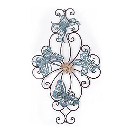 Deco De Ville Wrought Iron Wall Decor, Butterfly Rustic Metal Home Decor,Indoor&Outdoor Wall Art, Bronze&Blue