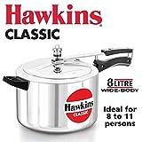 Hawkins Classic CL8W 8 L Aluminum Wide Body Pressure Cooker, Medium, Silver, 8-Liter