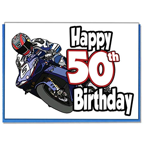 MotoGP Motorbike Rider – Tarjeta de 50 cumpleaños para hombres, hijo, nieto, papá, hermano, marido, novio, amigo