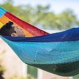 MacaMex Hängemattengestell, Mexikanische Netzhängematte Mehrpersonen Hängematte 3 Personen 250 kg, 410 x 250 x 150 cm, paradiso - 2