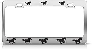 Speedy Pros Metal License Plate Frame Horses on Move Animal Car Accessories Chrome 2 Holes