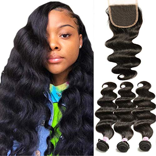 Beauty Forever Brazilian Weave Virgin Hair Body Wave 3 Bundles with 1 Piece 4x4 Free Part Lace Closure 100% Unprocessed Human Hair Extensions Natural Color (16 18 20+14Free Part)