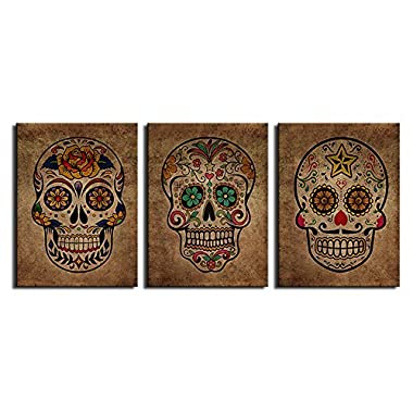 Canvas Wall Art Sugar Skull Vintage Abstract Painting Day of The Dead Canvas Prints Contemporary Pictures Modern Mexican Artwork Framed Wall Decor for Living Room Bedroom 3 Pieces of 12  x 16