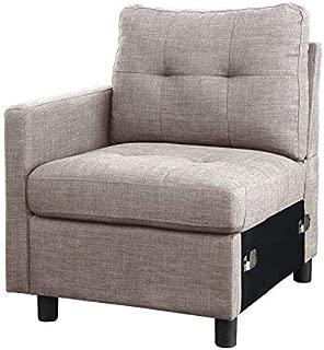 DAZONE Light Gray Linen Fabric Modular Left Arm Facing Chair