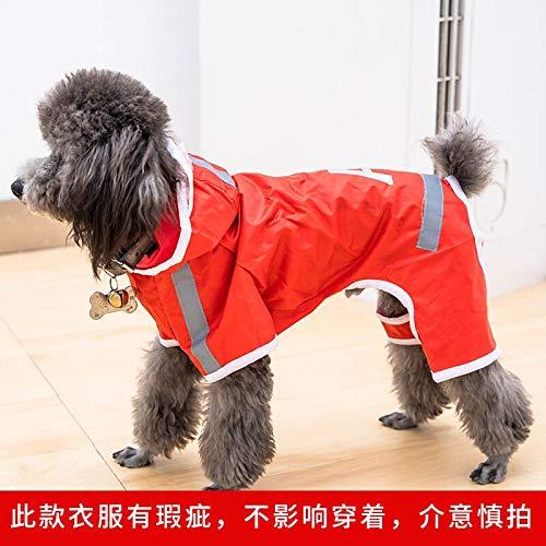 Teddy Bichon hond regenjas kleine schnauzer puppy hond paraplu benen Corgi kleding voor huisdieren waterdicht poncho rood M