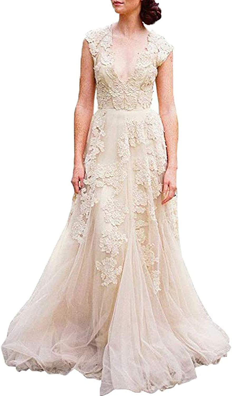 Fashionbride Women's Cap Sleeve V Neck Bride Boho Wedding Dress with Lace ED89