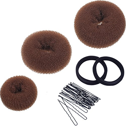 Mudder 3 Pieces Donut Bun Maker Hair Bun Maker Ring Style Bun Maker Set for Chignon Hair Includes Large, Medium and Small (Light Brown)