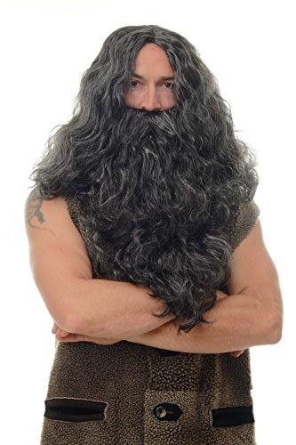 WIG ME UP ® - WIG011-P103PC309 Peluca y Barba Halloween Carnaval voluminoso señores Vikingo Normando Viejo enana bárbaro Negro Gris Mixto