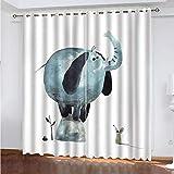 XKSJWY Cortinas Aislantes Termicas Ventana 2 Piezas con Ojales, 3D Elefante Animal De Dibujos Animados Patrón Cortinas Opacas para Habitacion Y Dormitorio Infantil Decoración De La Ventana 260X220Cm