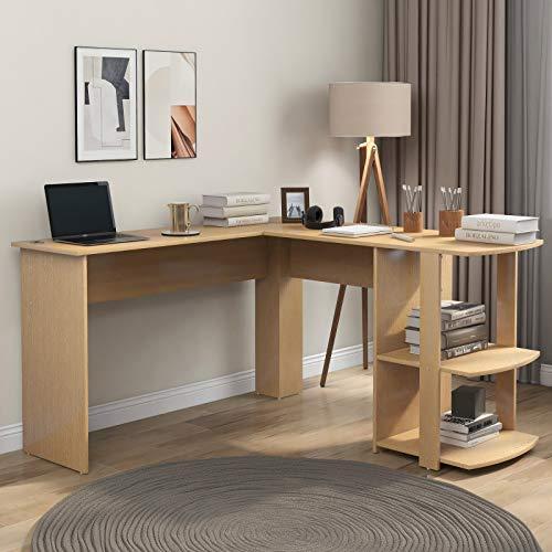 Pumpumly Escritorio en forma de L, fácil montaje, de tablero DM, con 2 estantes, para oficina/hogar, escritorio ampliado, 140 x 50 x 75 cm y 140 x 40 x 75 cm