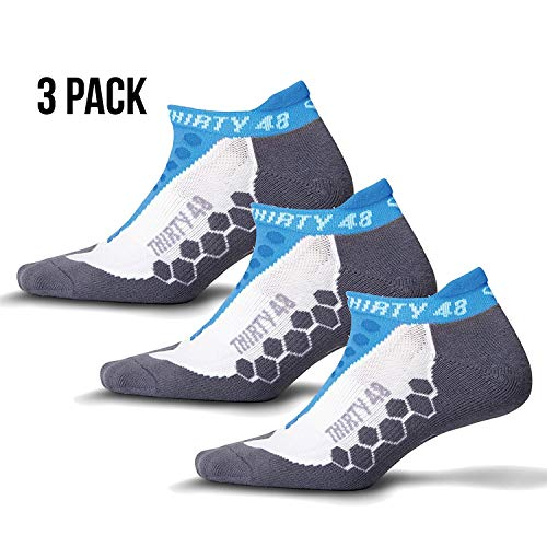 Thirty48 - Ru Cushioned Running Socks Series, with CoolMax Fabric Keeps Feet Cool and Dry, 3 Pack 3 Pack Blue/Gray Medium