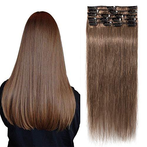 TESS Extensions Echthaar Clip in Rehbraun Remy Haar Extensions guenstig Haarverlängerung 18 Clips 8 Tressen Lang Glatt, 24