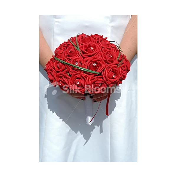 Large Red Rose Bridal Bouquet, Crystal Rose Wedding Flowers