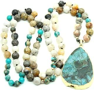 Long Prayer Charm Necklace Druzy Natural Stone Pendant Agate Beads Gemstone Boho Necklace Meditation Yoga