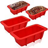 Walfos Mini Silicone Loaf Pan Set - 4 Pieces Non-Stick Silicone Bread Loaf Pan, Just Pop Out ! Perfect for Bread, Cake, Brownies, Meatloaf, BPA Free & Dishwasher Safe