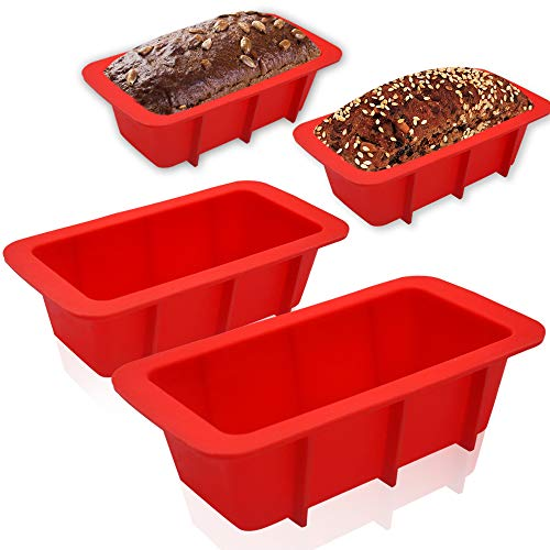 Walfos Mini Silicone Loaf Pan Set - 4 Pieces Non-Stick Silicone Bread Loaf Pan, Just PoP Out! Perfect for Bread, Cake, Brownies, Meatloaf, BPA Free & Dishwasher Safe