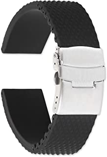 deBeer Textured Black Silicone Rubber Divers Watch Band/Watch Strap with Deployment Clasp - Sizes: 18mm, 20mm, or 22mm