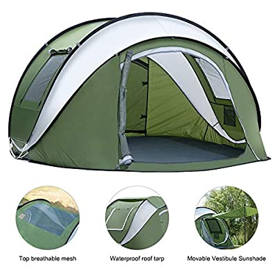 Weanas Pop Up Tents 4 Person with Top Mesh, Instant Automatic 2-4 Person Family Camping Tents Easy Quick Setup Dome Popup Tents for Camping, Hiking, and Traveling with Carrying Bag