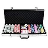 Aufun Pokerkoffer 500 Chips Laser Pokerchips 12 Gramm Metallkern, inkl. 2X Pokerdecks, 5X Würfel, Dealer Button, Big Blind, Little Blind, Poker-Set mit Silber Aluminium Gehäuse mit 2 Schlüssel