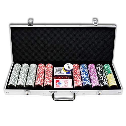 LZQ Pokerkoffer 500 Chips Texas Hold'em Poker Chips mit Silber Alumium Case Blackjack Gambing mit Carying Case und Casino Chips 2 Kartenspiele Dealer Small Blind Big Blind Buttons und 5 Würfel