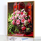 GJJHR DIY Pintura por Números Kits,Flor de Pantalla China Pintada a Mano Pintura al óLeo Digital, DecoracióN del Hogar Regalo - 40x50cm(Marco de Madera)