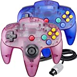 N64 Controller, King Smart Wired N64 Controllers with Upgraded Joystick for Original Nintendo 64 Console (Sapphire Blue and Clear Purple)