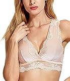 DOBREVA Women's Lace Velvet Plunge Bralette...