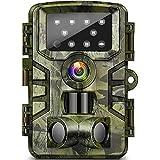 missjj fotocamera da caccia 20mp 1080p 120° ampia visuale fototrappola infrarossi invisibili con impermeabile ip66 e movimento attivato 0.2s, visione notturna fino a 15m per fattorie, caccia