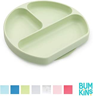 Bumkins Silicone Grip Dish, Suction Plate, Divided Plate, Baby Toddler Plate, BPA Free, Microwave Dishwasher Safe, Sage-GD, Qty-1