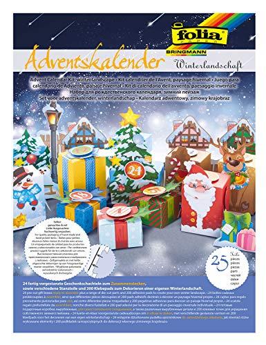 folia 9398 - Adventskalender Bastelset Winterlandschaft, mit 24 vorgestanzten Geschenkschachteln aus stabilem Motivkarton, verschiedene Stanzteile und 200 3D Klebepads