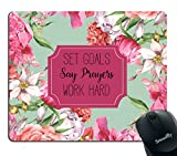 Smooffly Gaming Mouse Pad Custom,Set Goals Say Prayers Work Hard Floral Mouse Pad - Neoprene Inspirational Quote Mousepad