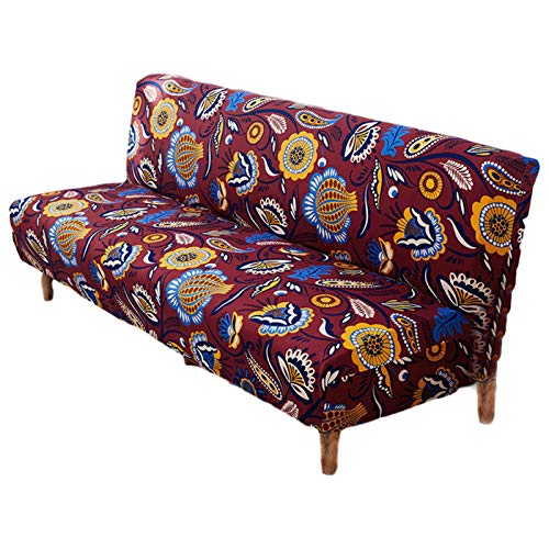 thorityau Funda para sofá cama sin brazos, poliéster y elastano, funda elástica para futón, protector de sofá plegable, compatible con sofá cama plegable sin reposabrazos