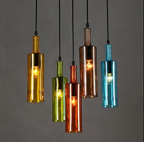 Moderna lampada pendente Minimalista personalità creativa di bottiglie di vino in vetro colorato lampadario cafe ristorante cucine lampadari di vetro ,7.5*29.5cm corridoio hotel