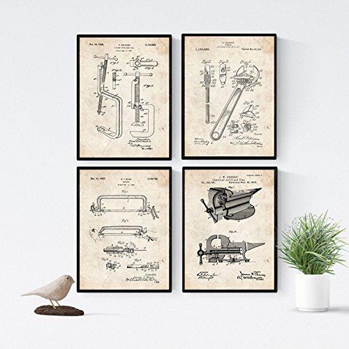 Nacnic Vintage - Pack de 4 Láminas con Patentes de Herramie