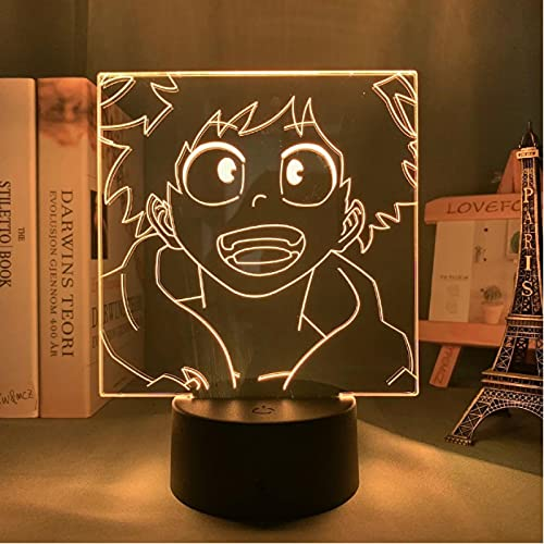 Lámpara De Ilusión Óptica Acrílica 3D Anime My Hero Academia Izuku Midoriya 7 Colores Luz Nocturna Para Decoración De La Lámpara De Escritorio Del Dormitorio Del Hogar