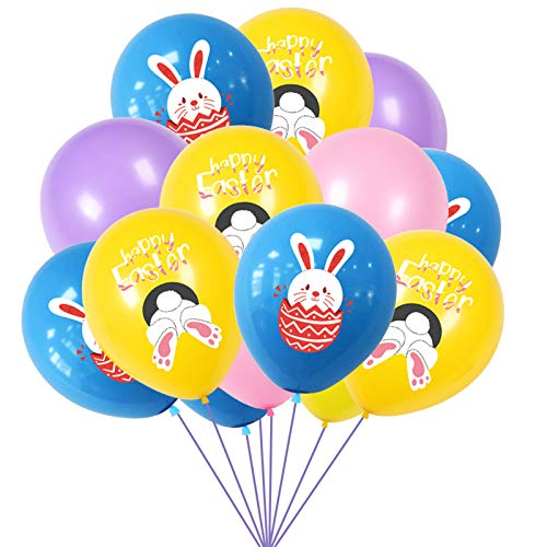 MiaoWu Easter Rabbit Buuny Egg Latex Balloons, Easter Birthday Party Favor Decoration, 16pcs/Set, 5pcs Blue bunny Egg 5pcs Yellow Rabbit 3pcs pink 3pcs purple for Easter Party Decoration Party Supplies