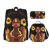 Combinación de mochila Afro black girl sunflower headdress Backpack children's school bag, lunch bag with pencil case bag set, 3 in 1 school bag set