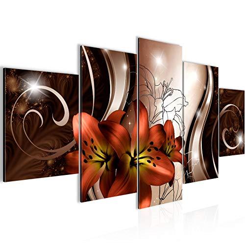 Bilder Blumen Lilien Wandbild Vlies - Leinwand Bild XXL Format Wandbilder Wohnzimmer Wohnung Deko Kunstdrucke Rot 5 Teilig - MADE IN GERMANY - Fertig zum Aufhängen 208453a