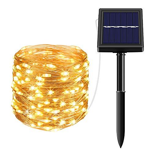 Solar Lichterkette Außen Fohil 10M 100 LED Lichterketten Aussen, Wasserdicht Kupferdraht Weihnachtsbeleuchtung Warmweiß Lichterkette für Balkon, gartendeko, Bäume, Terrasse, Hochzeiten, Partys