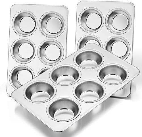 Muffin Pan Set of 3 E far Stainless Steel Muffin Pan Tin for Baking 6 Cup Metal Cupcake Pan product image