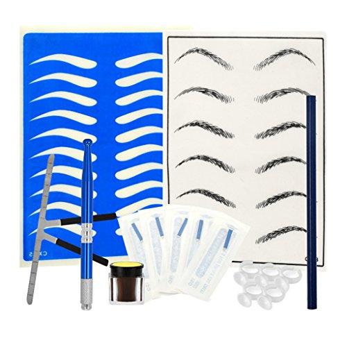 Toygogo Kit De Maquillage Permanent Des Sourcils, Règle, Stylo De Tatouage, Tasse D'encre, Pratique De La Peau - Bleu