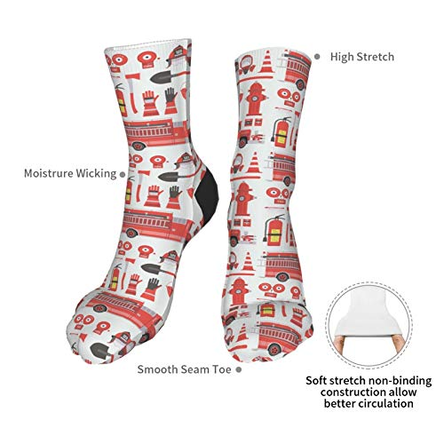 Fire Extinguisher 3d Red Fire Rescue Truck Firefighter Themed Printed Crew Socks Calf Knit Women Men Unisex Funny Clothing Party Clothes Gift Cozy Running Athletic Hiking Novel